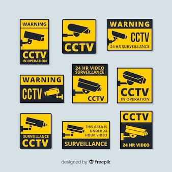 Moderne cctv-zeichensammlung mit flachem design