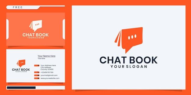 Moderne chat-buch-logo-vorlage. logodesign und visitenkarte