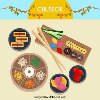 Moderne chuseok-komposition mit schöner frisur