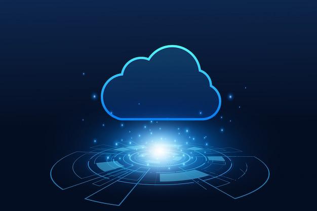 Moderne cloud-technologie futuristisch, online-speicher, arbeit von zu hause aus