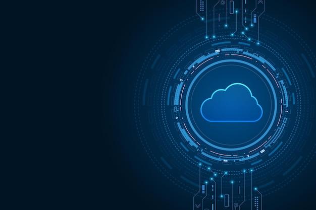 Moderne cloud-technologie futuristischer online-speicher von zu hause aus arbeiten
