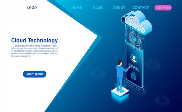 Moderne cloud-technologie und vernetzung. online-computertechnologie. großes datenfluss-verarbeitungskonzept, internet-datendienste