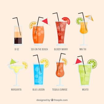 Moderne cocktailkollektion mit flachem design
