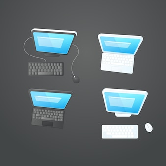 Moderne computer auf der tischvektorsammlung