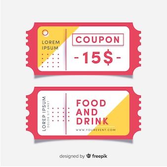 Moderne coupon-vorlage mit flachem design