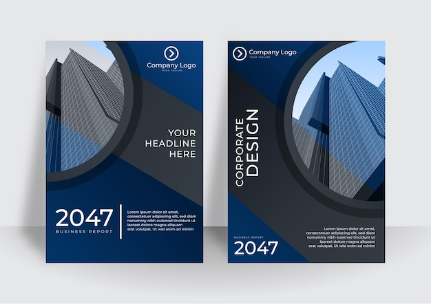 Moderne cover-design-vorlage in blauer farbe. vorlage für den jahresbericht oder die buchgestaltung des unternehmens