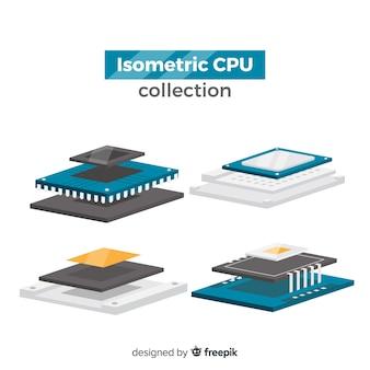 Moderne cpu-sammlung mit isometrischer ansicht