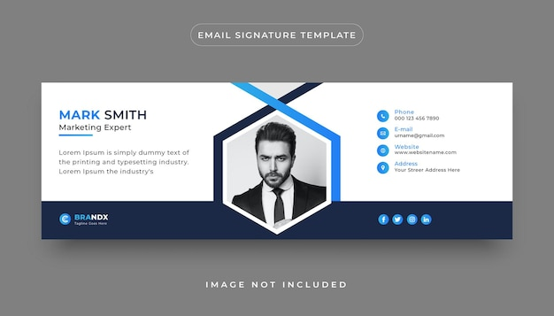 Moderne creative-e-mail-signaturvorlage und persönliches social-media-e-mail-fußzeilen-cover-design