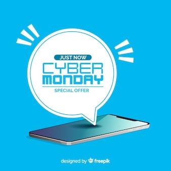 Moderne Cyber-Montag-Zusammensetzung mit flachem Design