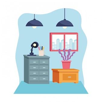Moderne dekorationsartkarikatur der möbel