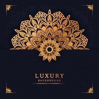 Moderne dekorative luxusmandala mit goldener arabischer islamischer ostart der arabeske