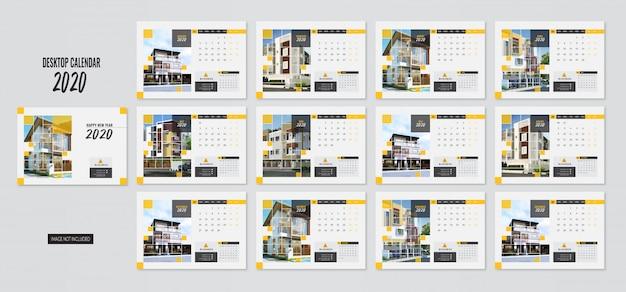 Moderne desktop kalender 2020 a5 größe vorlage gelbe farbe