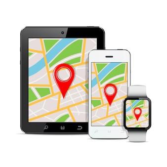 Moderne digitale geräte mit gps-karte auf dem bildschirm
