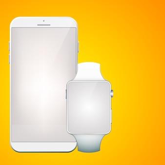 Moderne digitale geräte mit realistischem weißem tragbarem smartphone und smartwatch auf orange isoliert