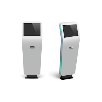 Moderne digitale interaktive informationskioske lokalisiert auf weißem hintergrund.