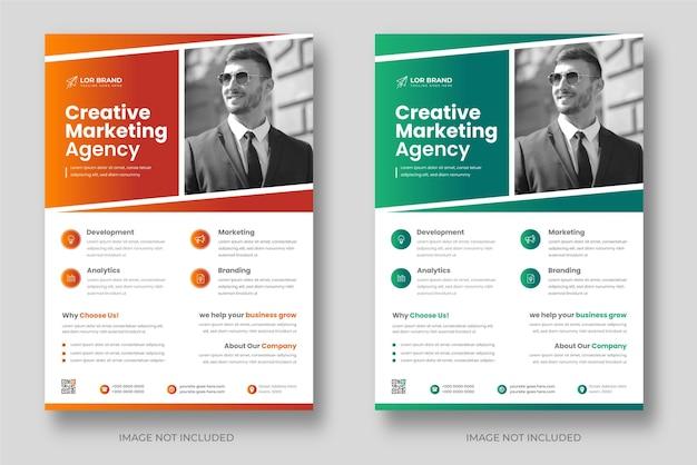 Moderne digitale marketing-flyer-vorlage für unternehmen mit oranger und grüner farbe