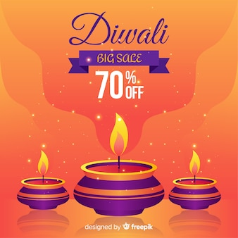 Moderne diwali verkaufszusammensetzung mit flachem design