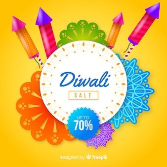 Moderne diwali verkaufszusammensetzung mit realistischem design