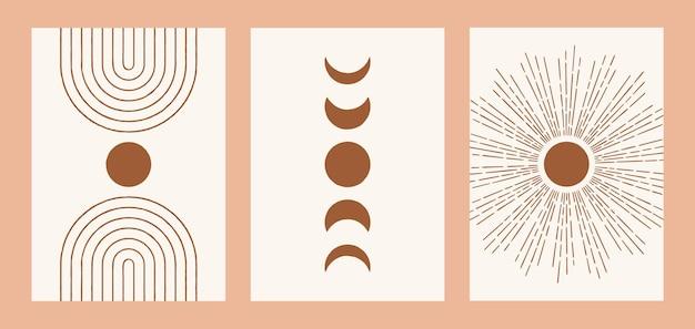 Moderne drucke mit sonnenmondbogen