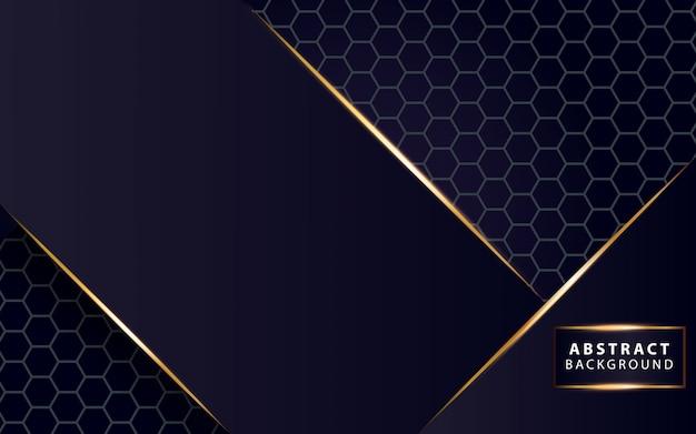 Moderne dunkelblaue hintergrundglanz-goldlinie