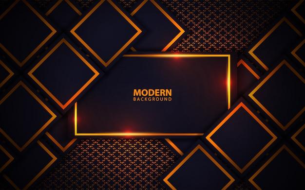 Moderne dunkelblaue quadratische formen mit goldenem licht