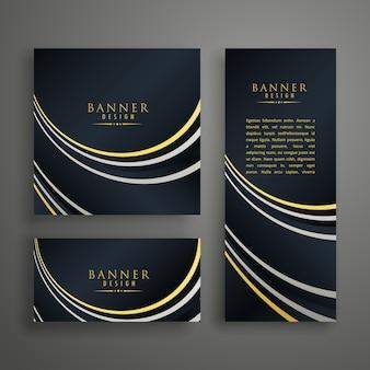 Moderne dunkle goldene einladungskarten-design-set
