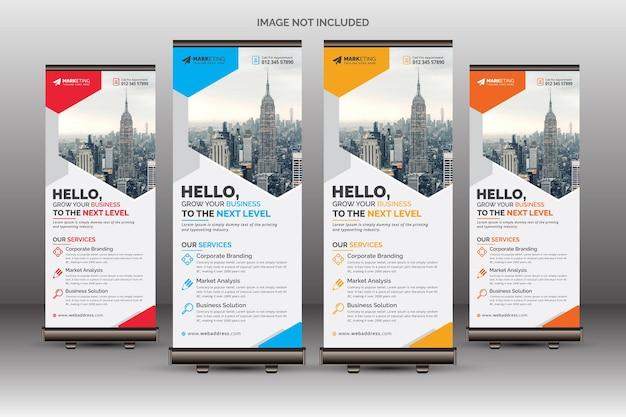 Moderne elegante corporate roll up banner signage standee vorlage für geschäftliche zwecke