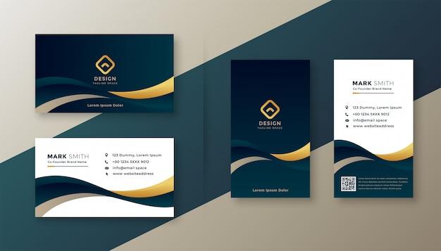 Moderne elegante goldene wellengeschäftskarte