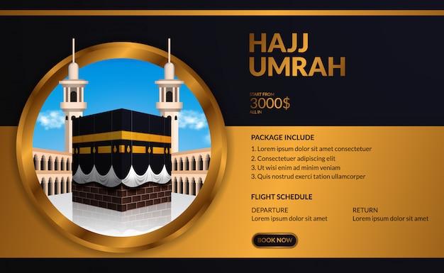 Moderne elegante luxus-hadsch- und umrah-tour-reisewerbeschablone mit realistischer kaaba-illustration mit blauem himmel mit goldenem kreisrahmen.