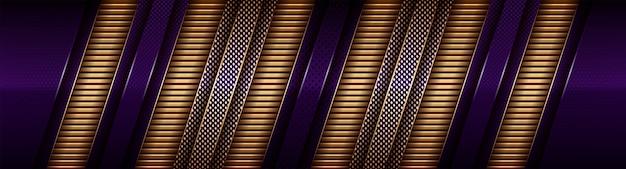 Moderne elegante überlappungsschicht aus gold und dunkelviolettem schatten
