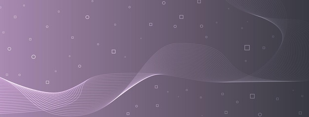 Moderne elegante wellenlinien kurven abstrakte kreise quadrate kühlen grauen lila dunst