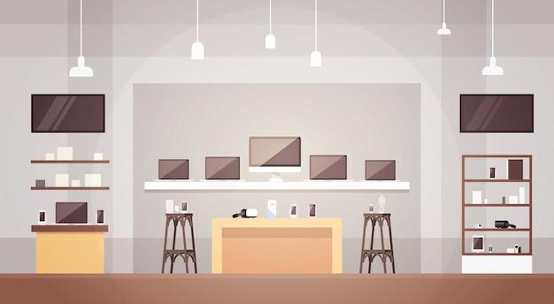 Moderne elektronikladen-geschäft-innenfahne mit kopienraum