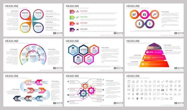 Moderne elemente von infografiken für präsentationen vorlagen