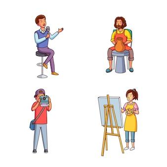 Moderne erwachsene machen kulturelle aktivitäten
