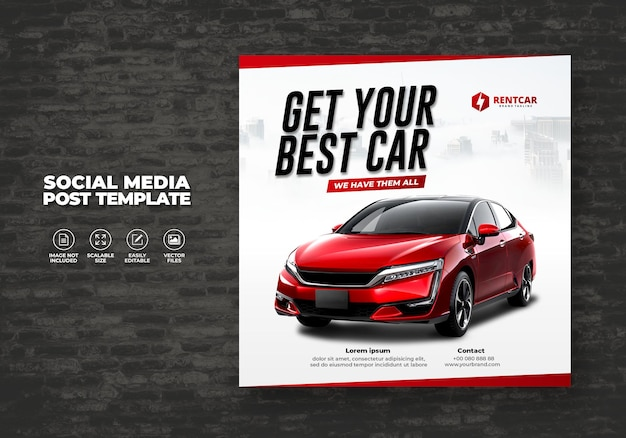 Moderne exklusive automiete und kaufen für social media post banner vector template