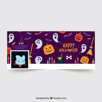 Moderne facebook-banner mit halloween-elementen