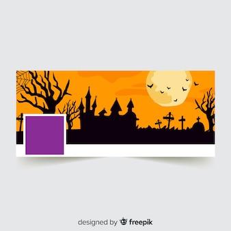 Moderne facebook-fahne mit halloween-konzept