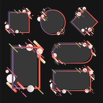 Moderne fahnen in den verschiedenen formen stellten illustration ein