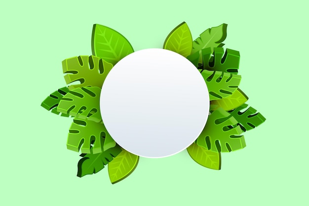 Moderne fahnenschablone mit grünen blättern in 3d