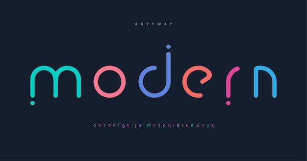 Moderne farbige schrift für logo auf schwarzem hintergrund bunte buchstaben mit punkten im flachen cartoon-stil