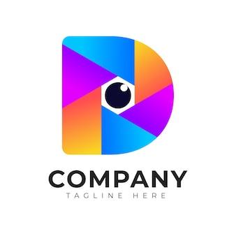 Moderne farbverlauf logo stil anfangsbuchstabe d bunte fotografie logo design-vorlage