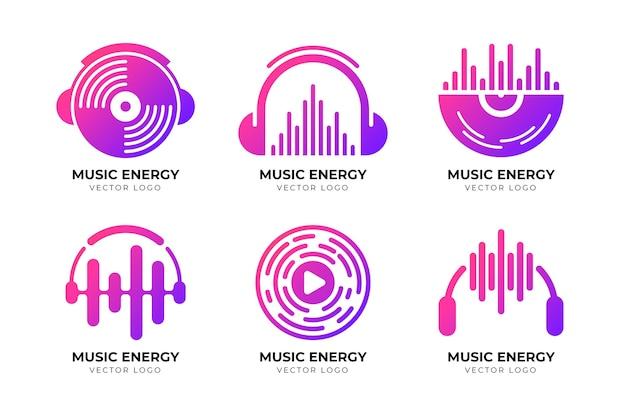 Moderne farbverlaufs-dj-logo-sammlung