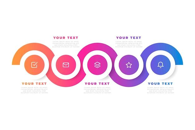 Moderne farbverlaufsinfografik mit symbolen