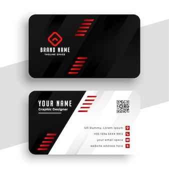 Moderne firmenvisitenkarte mit roten linien
