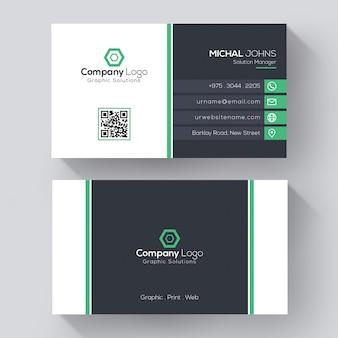 Moderne firmenvisitenkartenschablone, kreative visitenkarte mit grünen details