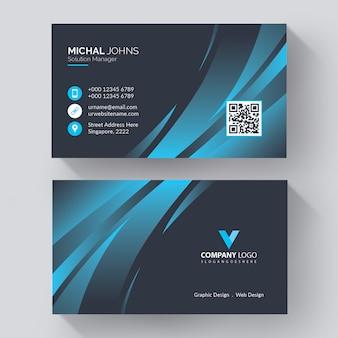 Moderne firmenvisitenkartenschablone mit moderner, kreativer visitenkarte mit blauen details