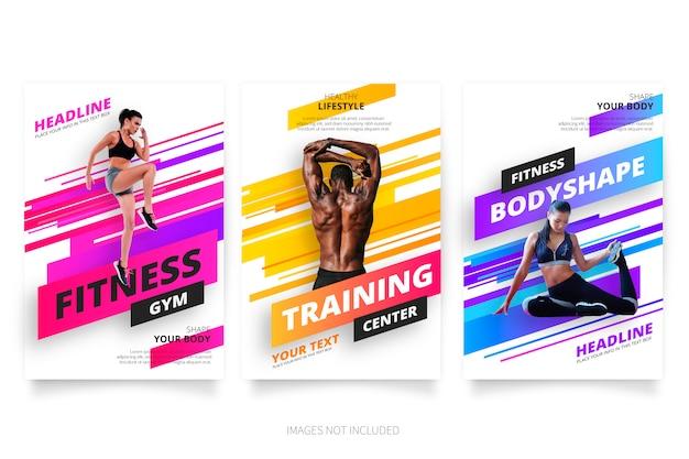 Moderne fitness- und fitnessbroschüren-kollektion