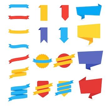 Moderne flache bauform abzeichen sammlung