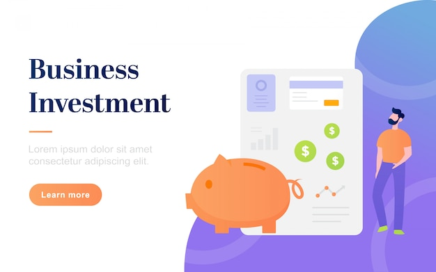 Moderne flache business-investment-landing-page-vorlage
