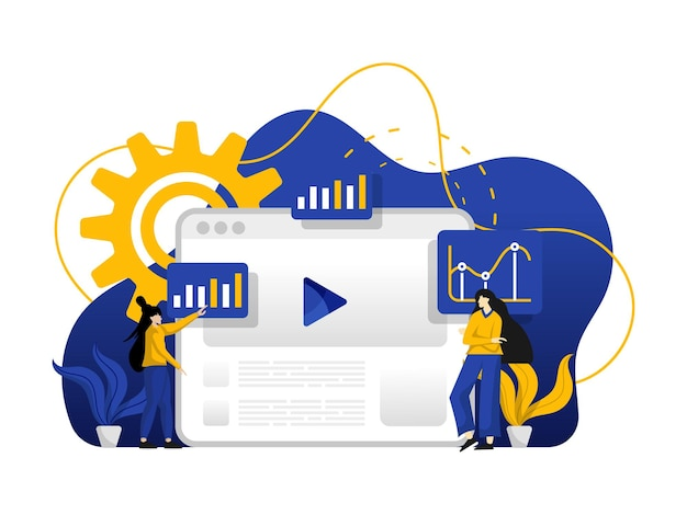 Moderne flache designillustration der marketing-investition